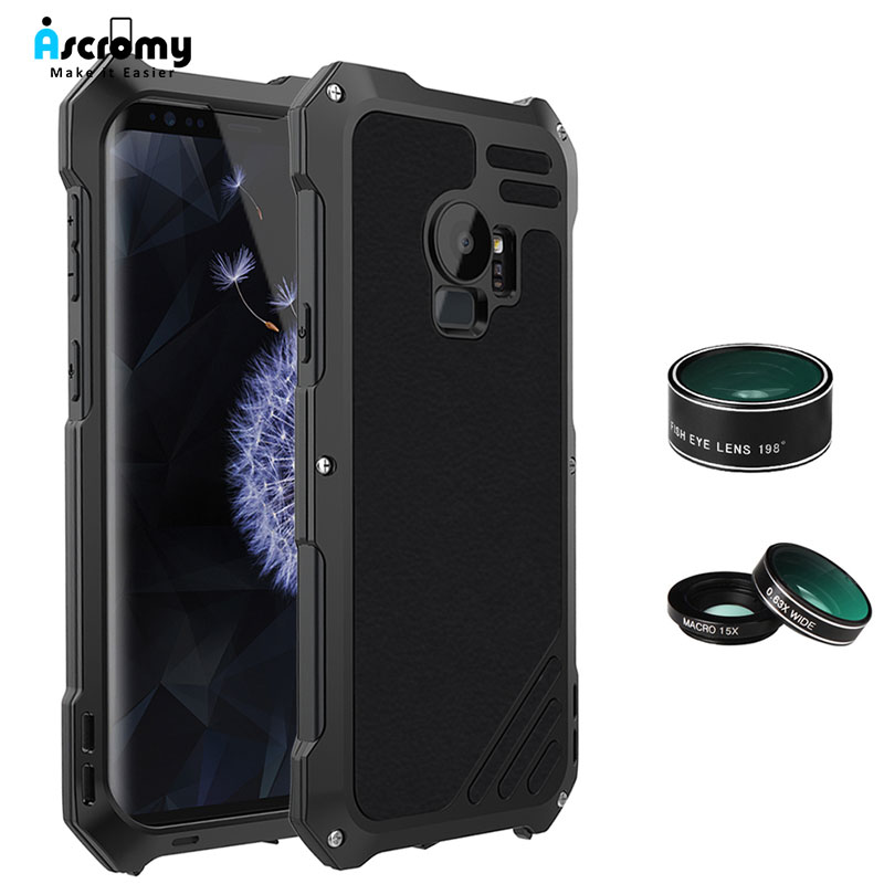 Ascromy For Galaxy S9 Lens Kit Case Fisheye Macro Wide Angle Shockproof Aluminum Cover For Samsung S8 Plus S7 edge Accessories (1)