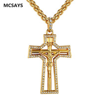 2017 New Arrival Hip Hop Necklace Clear Crystal Jesus Cross Pendant Iced Out Faith Necklace Trendy