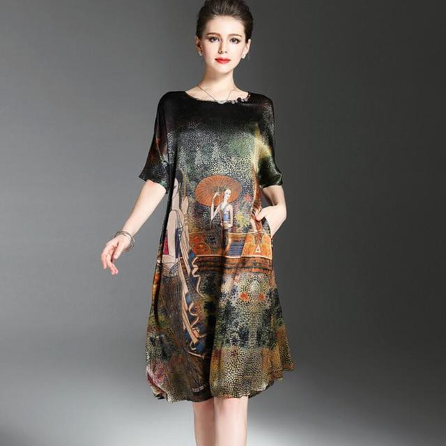 فستان صيفي بتصميم رسمة عرقية عتيقة للنساء فساتين ناعمة من الحرير نصف كم أنيقة للنساء ماركة Vestidos برقبة دائرية مقاس كبير