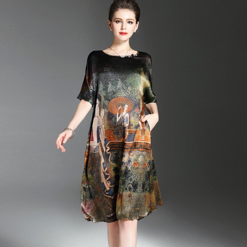 Vintage Ethnic Painting Design Dress Women Summer Half Sleeve Soft Silk Dresses Elegant Woman Brand Vestidos O Neck Plus Size