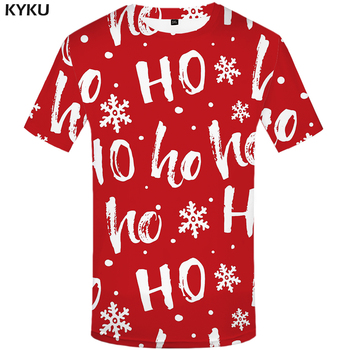 KYKU Christmas Tshirt Men Funny Anime Clothes Xmas T Shirts Red 3d T Shirt Punk Rock Print T-shirt Party Happy Mens Clothing New kyku indians tshirt men white feather t shirt hip hop anime clothes character 3d print t shirt punk rock mens clothing summer