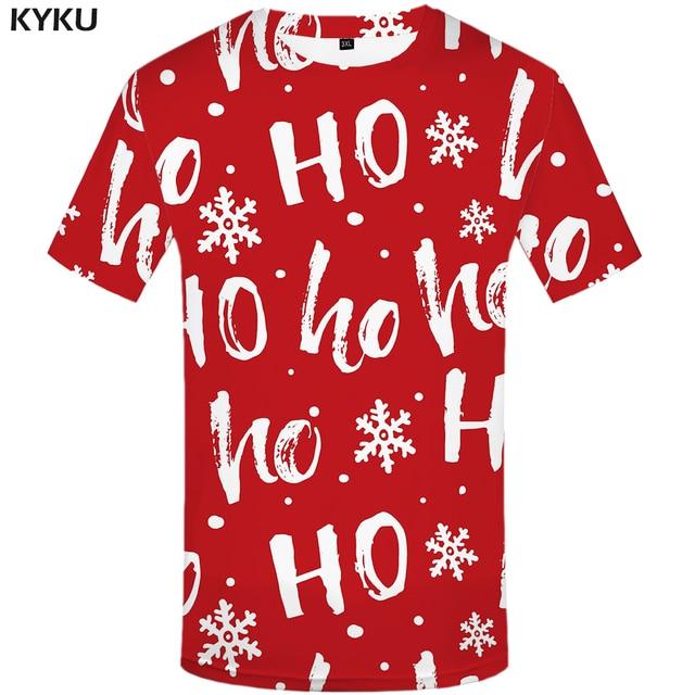 55cd56a0 KYKU Christmas Tshirt Men Funny Anime Clothes Xmas T Shirts Red 3d T Shirt  Punk Rock