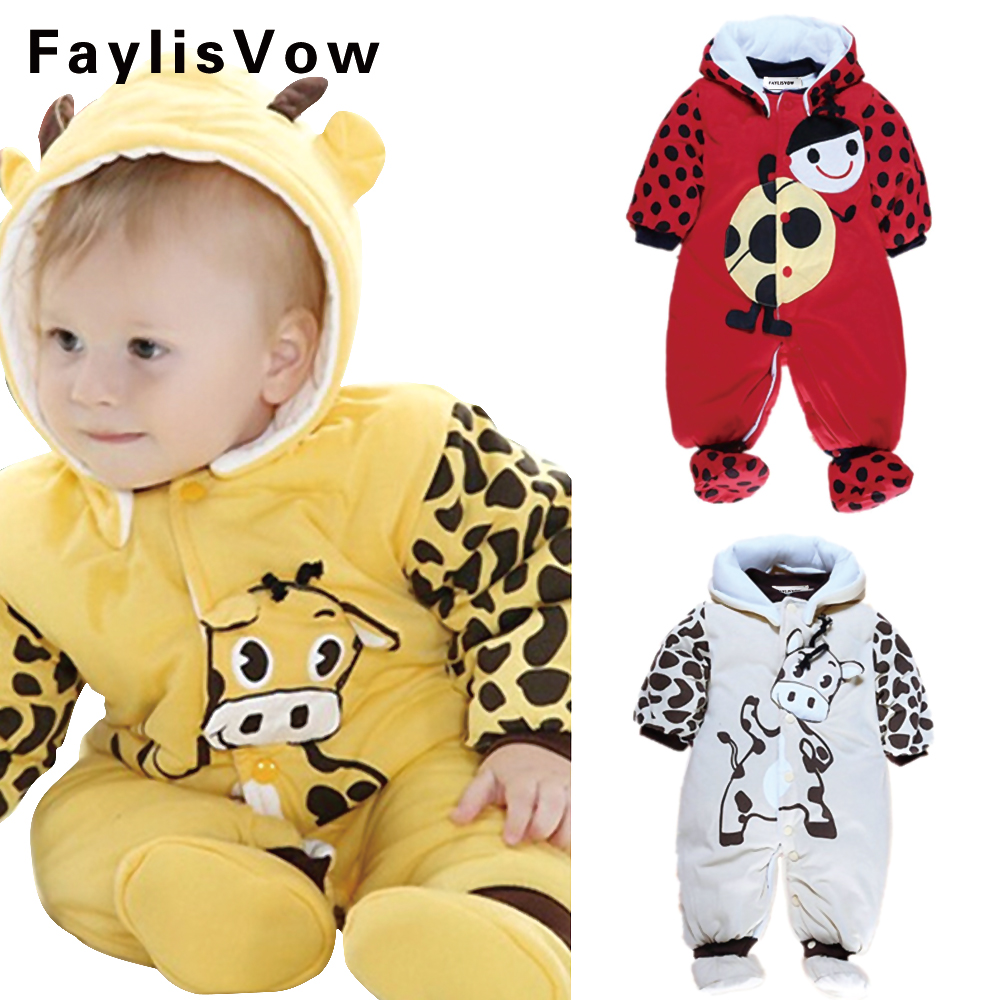 Cute Newborn Baby Winter Romper Thicken Cotton Boy Girl Clothing Cartoon Cow Infant Meninas Overall Baby Hooded Jumpsuits