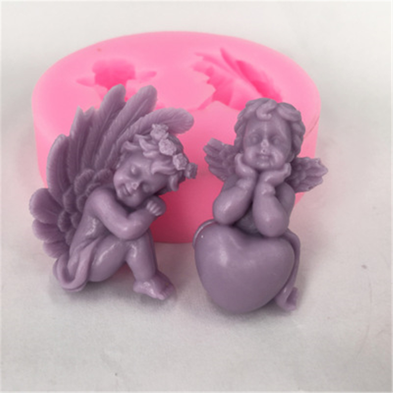 Heart-shaped Angel Food Grade Silicone Mold Decoration Mold Supply Baking Tool  Soap 100% Brand New High Quality Food Grade