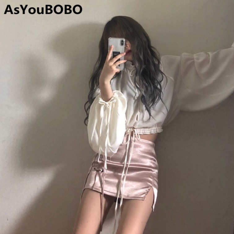 Harajuku Korean Japanese Style Kawaii Cute White Lace Up Long Sleeve Shirts And Lace Up Mini Skirts Women Sets YQ-1016