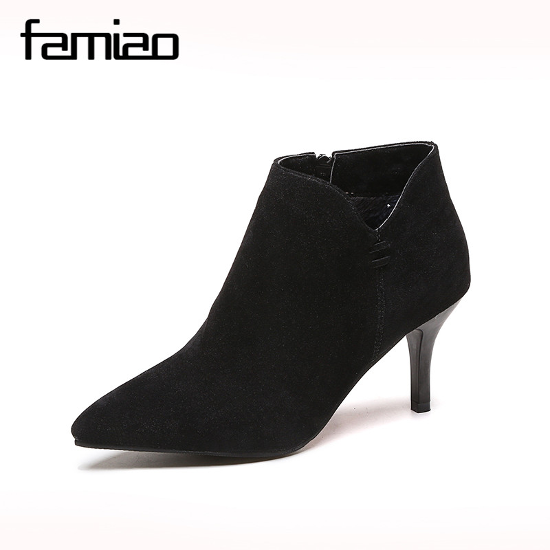 famiao boots zip high heels boots pointed