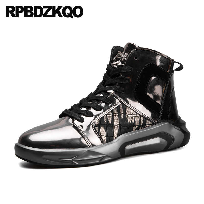Gold Shoes Trainers New European Patent Leather Waterproof Boot Men Lace Up  Chic Hip Hop Metal 14243176dc83