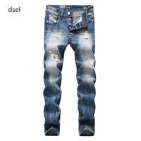 2016 Famous Dsel Brand Fashion Designer Jeans Men Straight Blue Color Printed Mens Jeans Ripped Jeans
