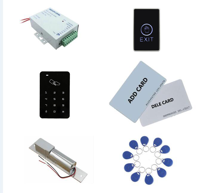 Access control kit,em/ ID keypad access control+ power+bolt lock+exit button+2pcs manage card, 10 keyfob ID tags,sn:set-2 access control kit standalone access control power inteligent mute lock exit button 2 manage card 10 keyfob id tags sn set 9