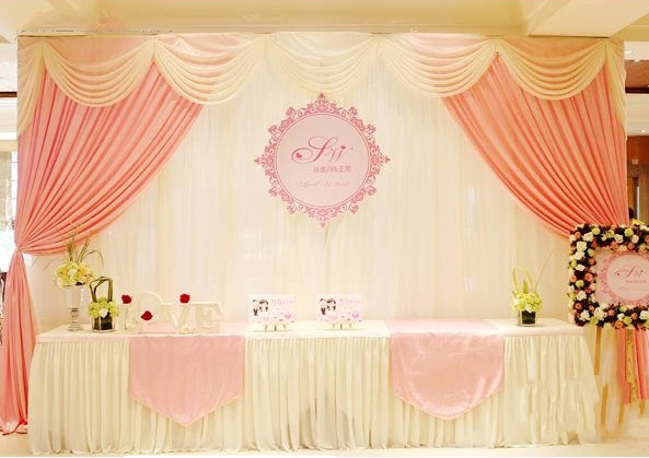 Baby Pink Wedding Stage Curtain 10ft 20ft Backdrop With Beautiful Swag Decoration