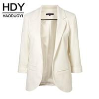 HDY 2019 Jackets Women Office Work Open Front Notched Ladies Blazer Coat Hot Sale Fashion White Blazer Spring Slim Fit for Women