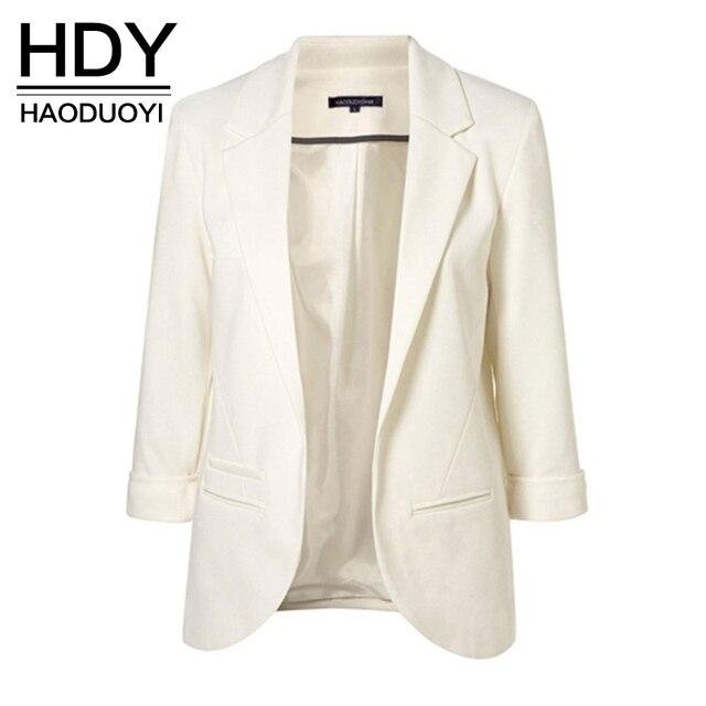 HDY Haoduoyi 2017 סתיו נשים 7 צבעים Slim Fit בלייזר מעילי תלבושות סוכריות צבע מחורצים בלייזר לפתוח חזית עבודה במשרד מעילי
