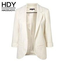 HDY Haoduoyi 2017 Осень Женская Мода 7 Цветов Slim Fit Blazer Куртки Зубчатый Три Четверти Рукав Пиджак Пальто Женщин(China (Mainland))