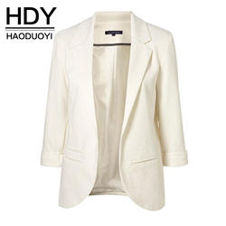 HDY Haoduoyi 2019 демисезонный Slim Fit для женщин официальные пиджаки офисные открытые спереди зубчатый дамы Блейзер Пальто Лидер продаж Мода