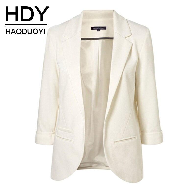 HDY Haoduoyi 2019 весенне осенние тонкие женские официальные пиджаки офисная работа, открытая передняя вырезка, Женский блейзер, пальто, Лидер продаж, мода женский пиджак для офисных-in Пиджаки from Женская одежда on AliExpress