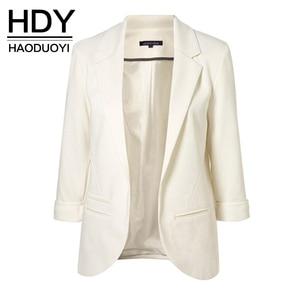 Image 1 - سترات HDY Haoduoyi نسائية رسمية مناسبة لفصل الربيع والخريف لعام 2020 مناسبة للعمل المكتبي سترة نسائية مفتوحة من الأمام ومزينة بقطع علوية رائجة البيع
