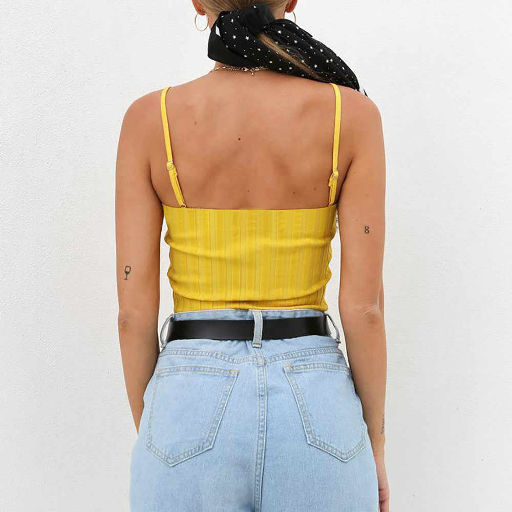 2019 Womens Slim Solid Tank Vest Crop Top Sexy Vest Off Shoulder Strappy Blouse T-Shirt Camis Women's Sleeveless Tank Top
