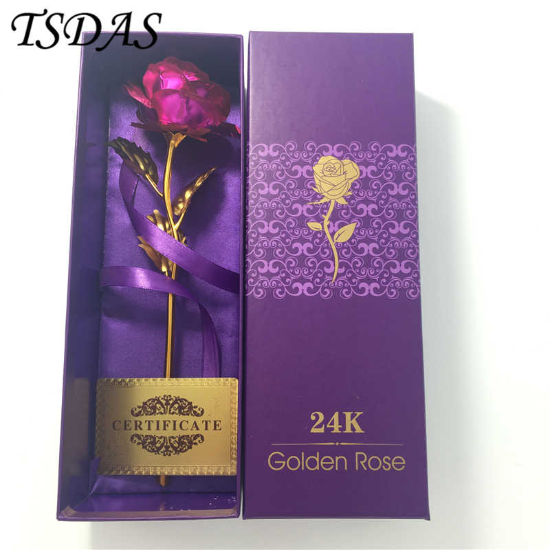 Detail Feedback Questions About Originality Gift 258cm Gold Foil Rose Pink 24K FLOWER Girlfriend Birthday Packing With Box On Aliexpress