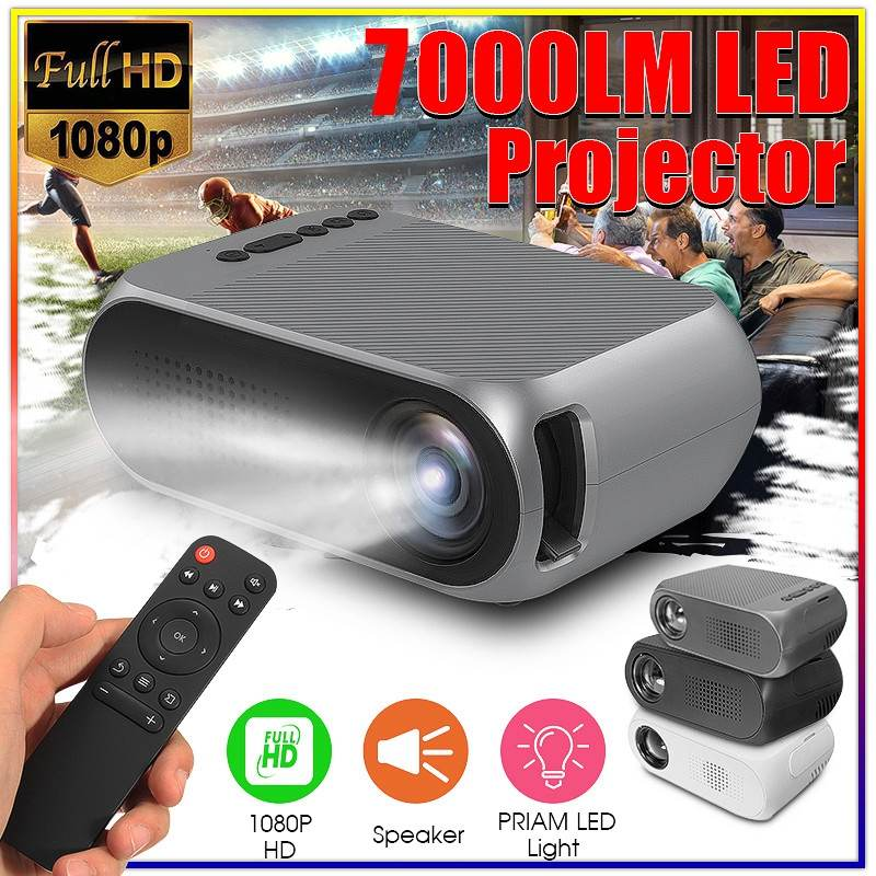 <font><b>7000</b></font> <font><b>Lumens</b></font> Mini LED Projector 1080P Full HD for Multi-media Home Cinema Theater USB/SD/HDMI/VGA/AV/TV Black image