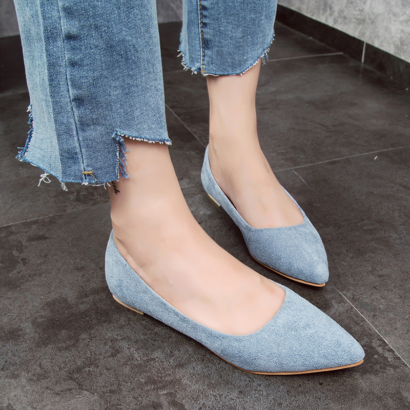Shallow Mouth Women Flats   Suede     Leather   Shoes Slip-on Pointe Shoes Casual Ladies Loafers Slipony Single Lady Work Flat Shoes