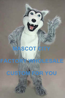 Cartoon Character Adult Grey Husky Mascot Costume EPE Head With Helmet Cartoon Character Mascotte Outfit Suit Fancy Dress SW716