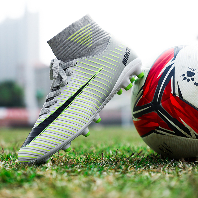 Soccer Shoes Men Football Boots Men Soccer Cleats Boots Long Spikes TF Spikes Ankle High Top Sneakers Soft Indoor Turf Futsal 33