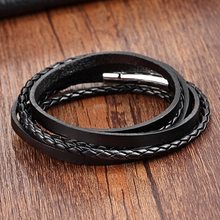 Chain Bracelet Men Stainless Steel Rope cuff Bracelet Genuine Leather Bracelets for women 60cm ladies bracelet Braid leather(China)