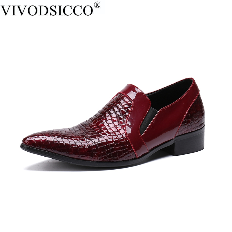 VIVODSICCO Red Patent Leather Luxury Serpentine Man Loafers Men's Pointed Toe Formal Dress Shoes Slip on Wedding Party Shoes red patent leather man dress shoes fashion slip on oxfords for men genuine leather punk buckle chain formal party wedding shoes