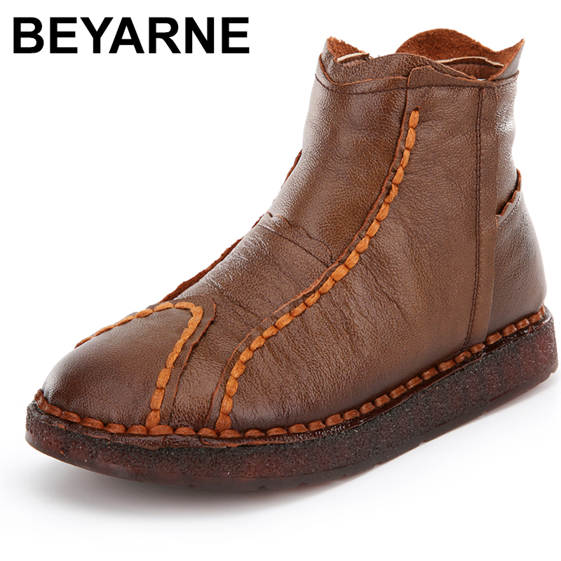 Big Size 35 41 Women Boots Hand made Genuine Leather Women Ankle Boots Round Toe Zip