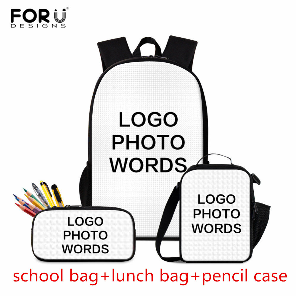 FORUDESIGNS Teenage School Bags Kids Bagpack Custom Image School Backpack Set For Girls Boys Adults Bag Pack Mochila Escolar
