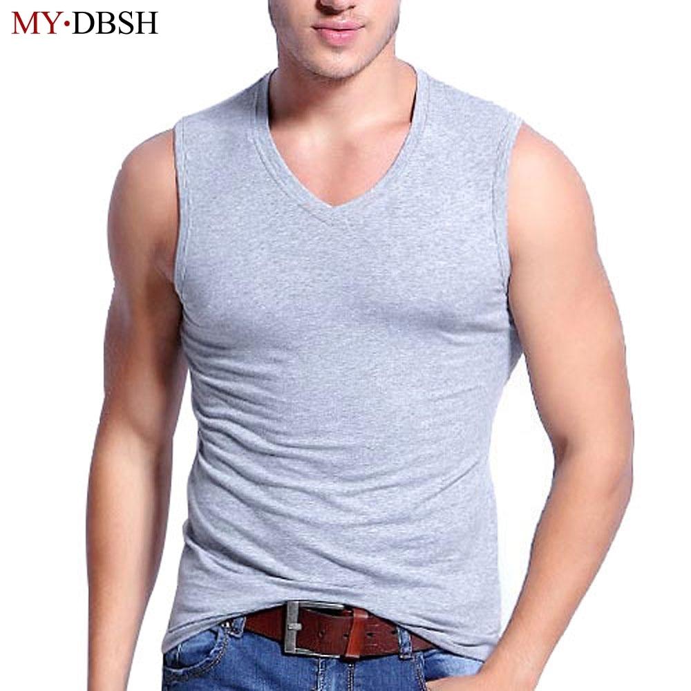 1d0991a31e New 2019 Fashion Summer Mens V-neck Sleeveless Wide Shoulder Tank top  Fitness Vest Stretch Cotton Slim Sleeveless Vest Men Tops
