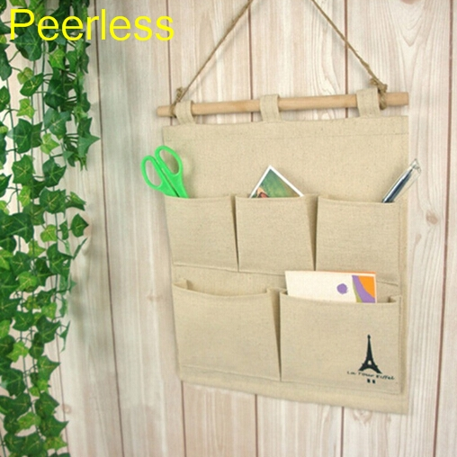 Peerless 5 Pocket Multi-layer Letter Holders Cotton Wall Hanging Bags Tower Print Storage Bag Desk Organizer Bags