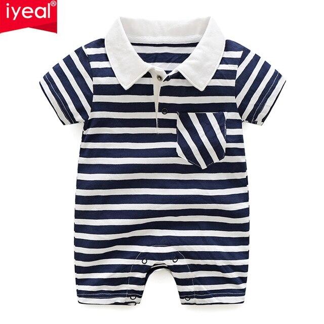 c9133902da79 IYEAL Newborn Baby Rompers Summer Short Sleeve Striped Cotton Turn ...