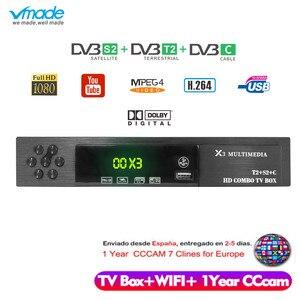 Image 1 - Vmade HD דיגיטלי DVB T2 S2 DVB C טלוויזיה תיבת תמיכה Dolby AC3 H.264 HD 1080 p DVB T2 S2 טלוויזיה מקלט + USB WIFI + 1 שנה אירופה CCCAM שרת