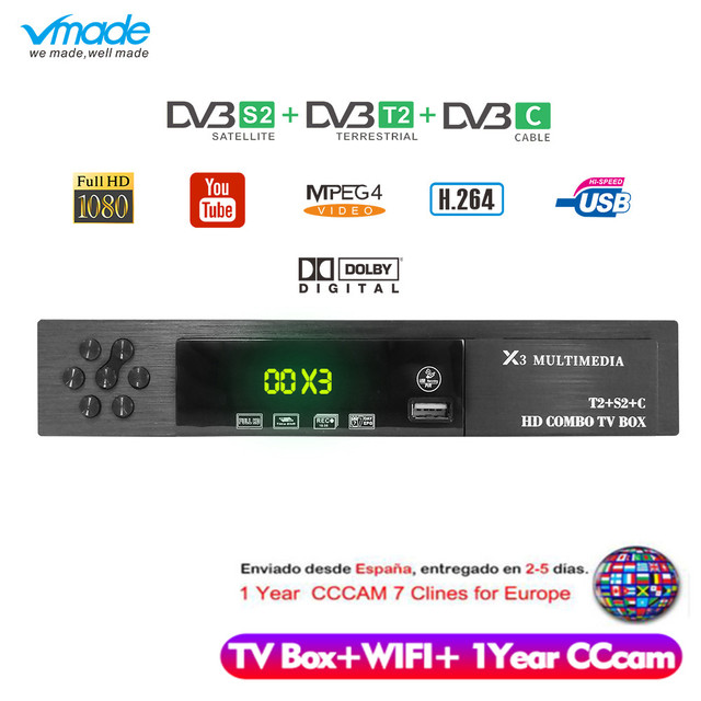 Vmade HD デジタル DVB T2 S2 DVB C Tv ボックスサポートドルビー AC3 H. 1080 HD 1080p dvb T2 S2 テレビチューナー + USB 無線 LAN + 1 年ヨーロッパ Cccam サーバ