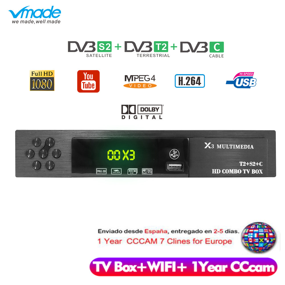 Vmade HD Digital DVB T2 S2 DVB C TV Box Support Dolby AC3 H.264 HD 1080p DVB T2 S2 TV Tuner+USB WIFI+1 Year Europe CCCAM Server-in Satellite TV Receiver from Consumer Electronics