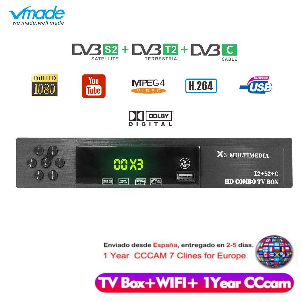 Vmade HD numérique DVB T2 S2 DVB-C prise en charge de la boîte de télévision Dolby AC3 H.264 HD 1080 p DVB T2 S2 TV Tuner + USB WIFI + 1 an Europe CCCAM serveur