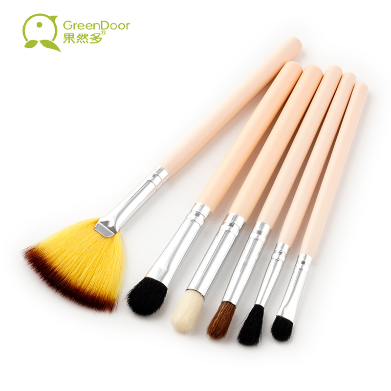 GreenDoor 6 pcs/set Professional Makeup Brushes Set Wood Handle Fan Concealer Eye Shadow Brush Make Up Tool High Quality фонарик brand new 2015 t6 2000lm lanterna 26650 batteyr efl0509