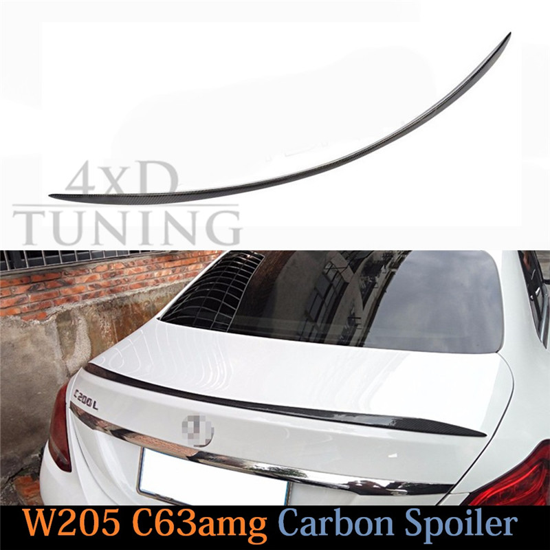For Mercedes W205 Spoiler C63 Style C Class W205 C180 C200 C250 C260 Carbon Fiber Rear Spoiler Trunk Wing Sedan 4-doors 2014 -UP for mercedes w213 spoiler e class 4 door sedan e200 e220 e250 e300 carbon fiber rear trunk spoiler wings e63 style 2016 up