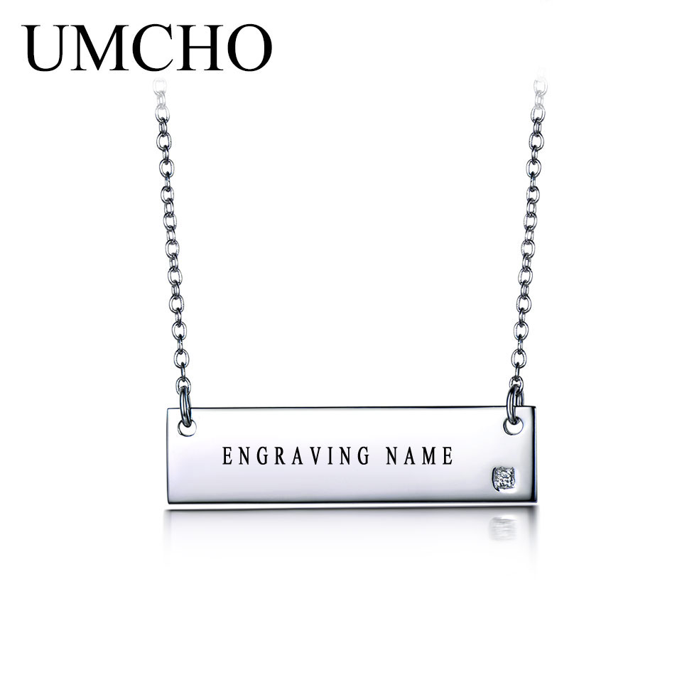 UMCHO Genuine 925 Sterling Silver Custom Engraved Name Bar Necklaces Pendants For Women Party Personalized Gift  Fine JewelryUMCHO Genuine 925 Sterling Silver Custom Engraved Name Bar Necklaces Pendants For Women Party Personalized Gift  Fine Jewelry