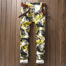 2017 New Arrival Yellow Geometric Print Man Jeans Fashion Denim Slim Trousers
