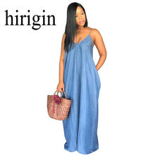 Hirigin 2018 Vrouwen Lady Boho Backless Zomer Lange Denim Maxi Jurk Vrouwen Jean Jurken Losse Strapless Vestidos Plus stockout(China)