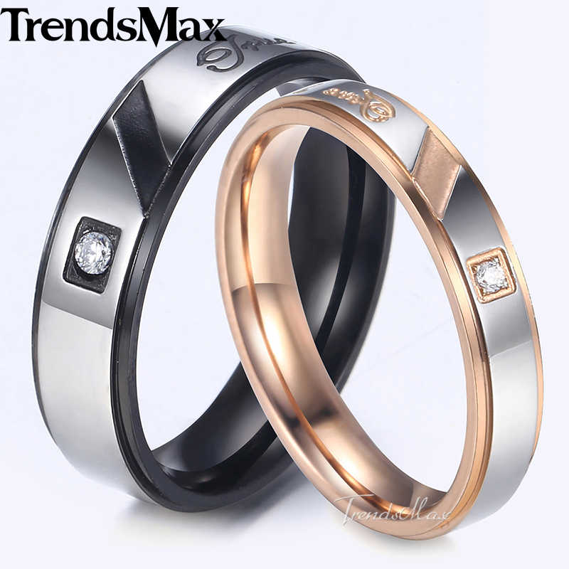 Trendsmax Couples Rings Rose Gold Black Silver Tone Stainless Steel Wedding Band Paved CZ Engagement Jewelry For Women KKRM37