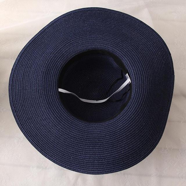 Gran oferta 2019 de sombreros de paja de ala ancha de rafia con parte superior redonda, sombreros de Sol de verano para mujeres con sombreros de playa de ocio, Gorras planas de señora 5
