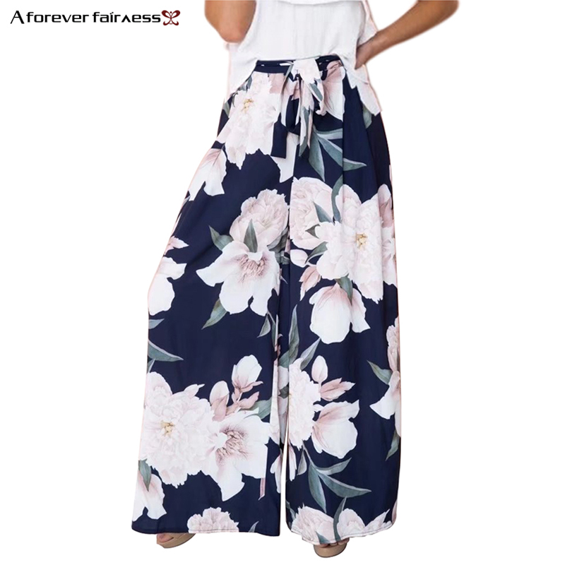 A Forever Women Foral Chiffon Print Loose   Wide     Leg     Pants   High Waist Elastic with Belt Beach Summer Casual Long Trousers M-0061