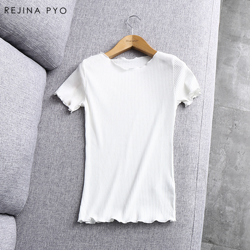 RejinaPyo European Style Chic Knitted T-shirt Ruffles Short Sleeve Women Slim O-neck Tees 2018 Spring New Arrival