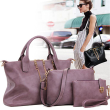 Fashion Handbags Women Messenger Bags Female Purse Solid Shoulder Bags Office Lady Casual Tote New Top-Handle Bag 3 Pcs/Set