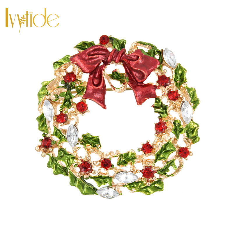 Lvytide Christmas pins Red and green flower hoop brooches Large rhinestone crystal lapel pins Jacket sweater decoration jewelry