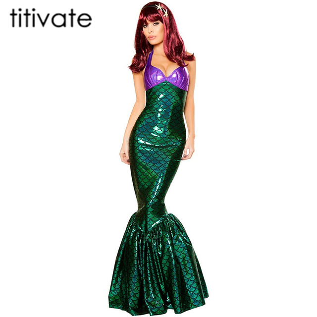 cef4fb82228313 TITIVATE Women's Mermaid Costume Clothes Mermaid Fancy Girls Mermaid Dresses  Princess Cosplay Halloween Costume