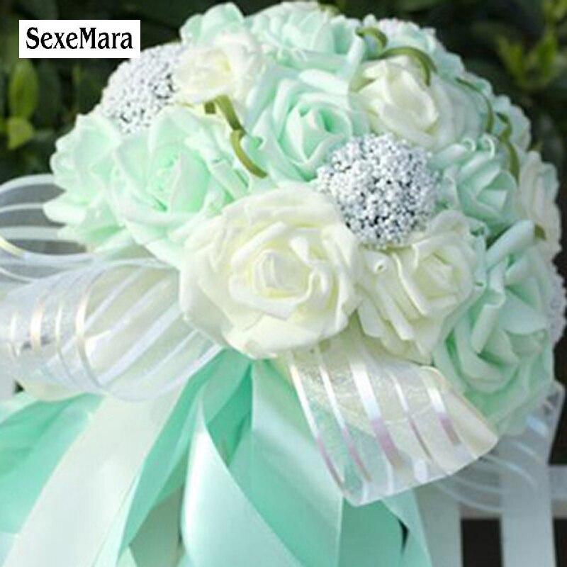 Silk Flowers Wedding Bouquets.2016 Striped Transparent Tape Artificial Wedding Bouquet Mint Green Artificial Flowers Wedding Bridesmaid Bouquets